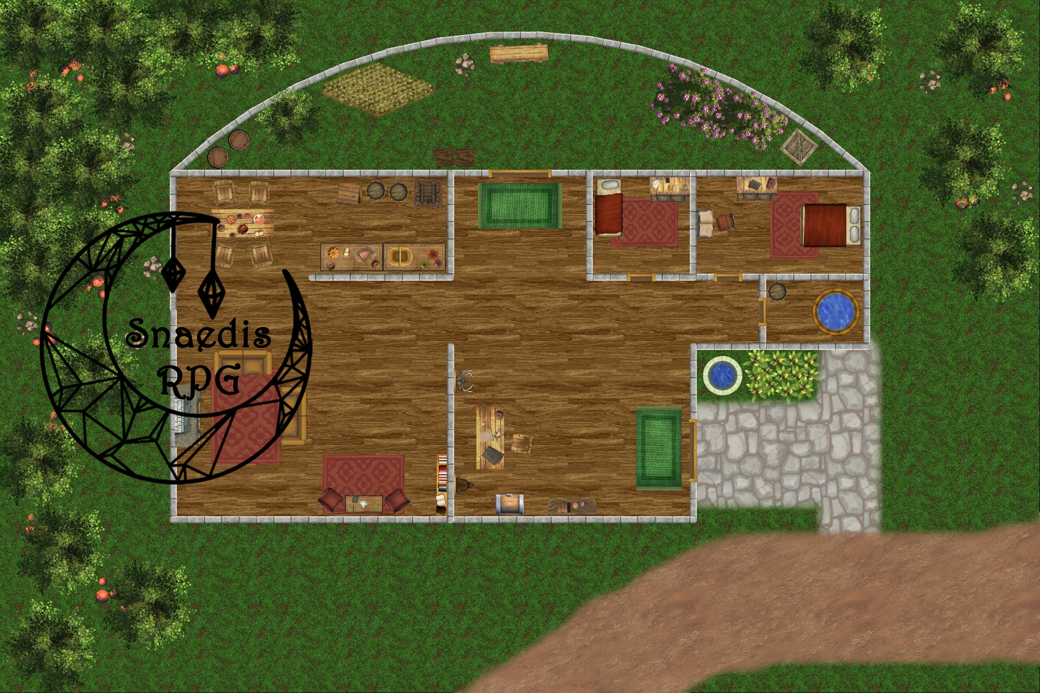Full map display of House of Cleome map with Snaedis RPG logo