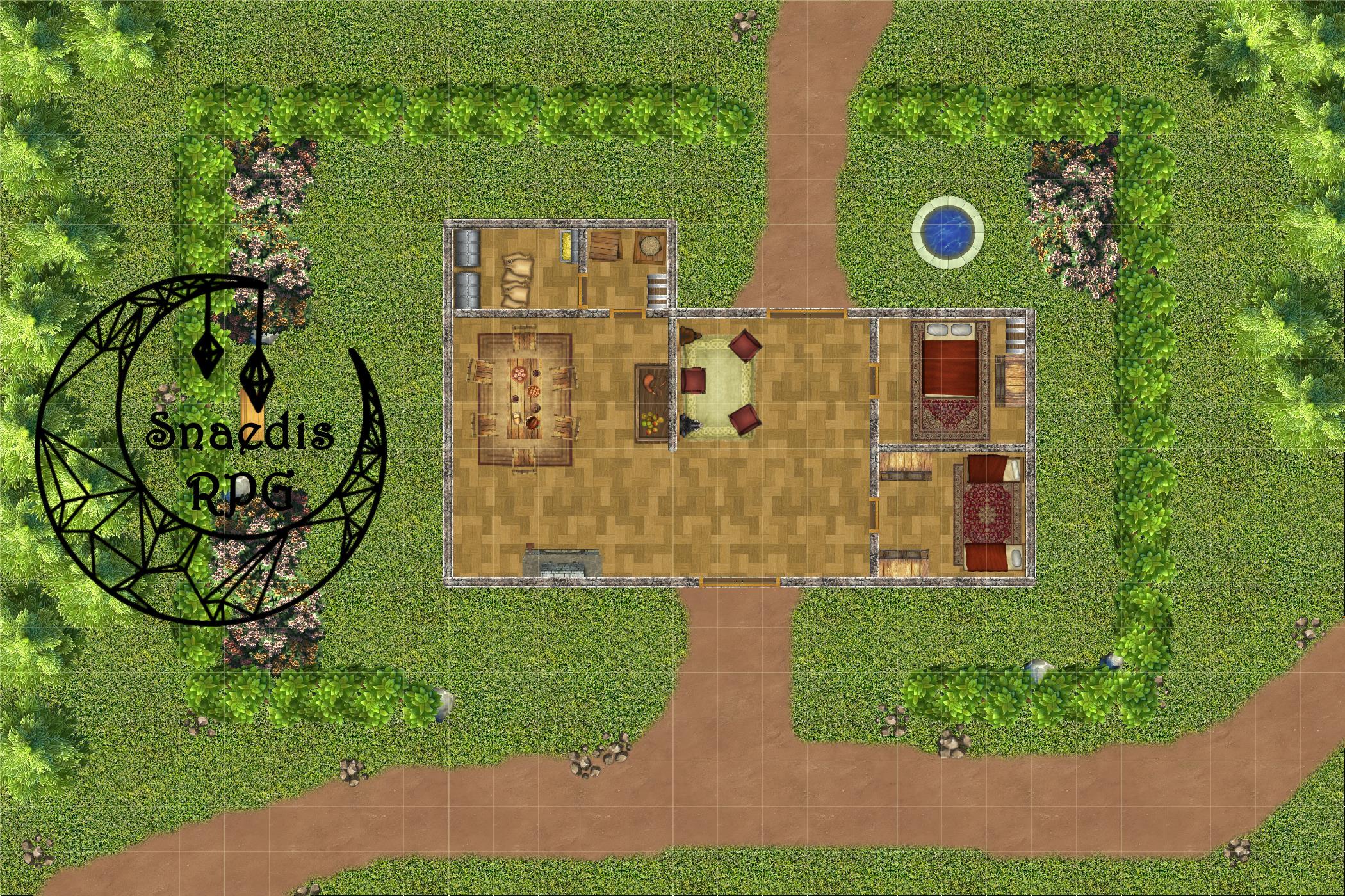 Full map display of House of Ephemei map with Snaedis RPG logo